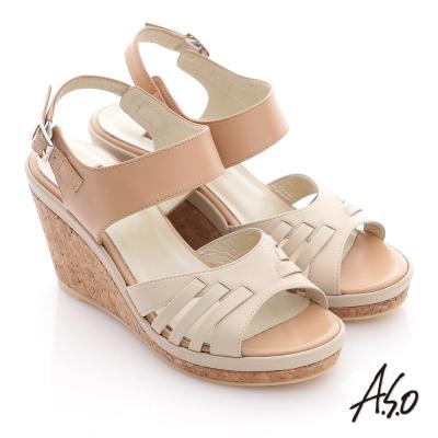A.S.O 輕音躍系列 全真皮編織粗帶楔型涼鞋 卡其
