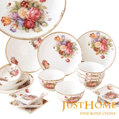 Just-Home-金色玫瑰骨瓷16件餐具組
