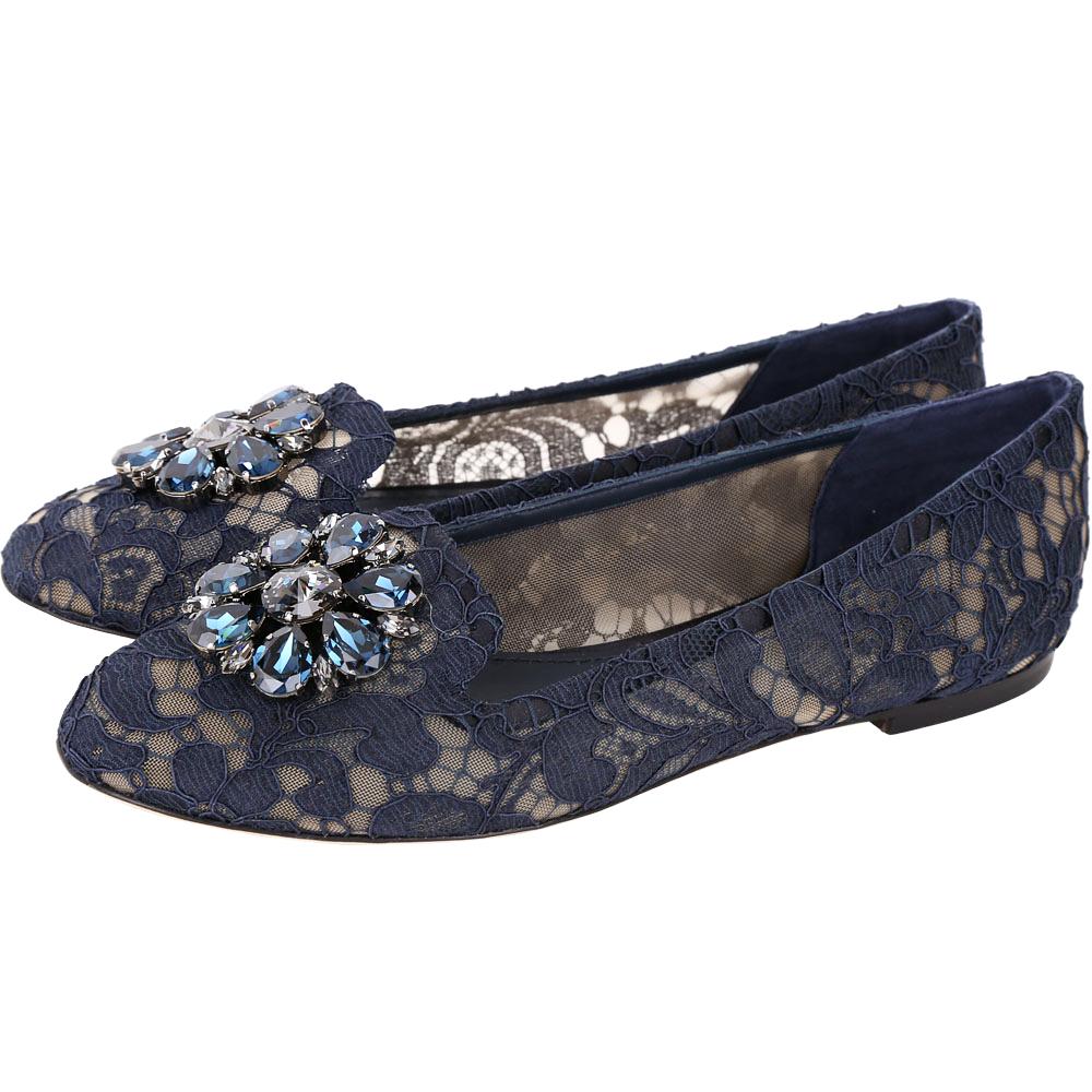 DOLCE & GABBANA 花朵鑽飾蕾絲樂福鞋(藍色)