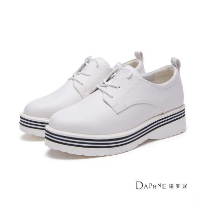 達芙妮DAPHNE 休閒鞋-素色綁帶條紋底休閒鞋-白