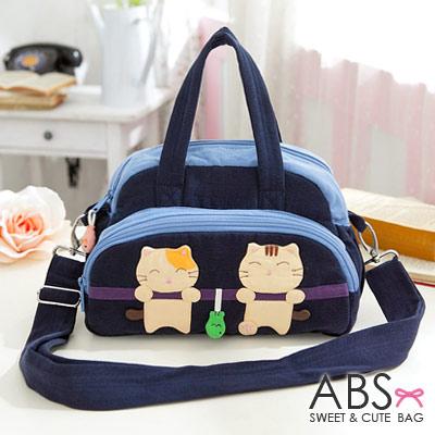ABS貝斯貓 可愛貓咪拼布 手提斜背兩用小包88-182 - 海洋藍