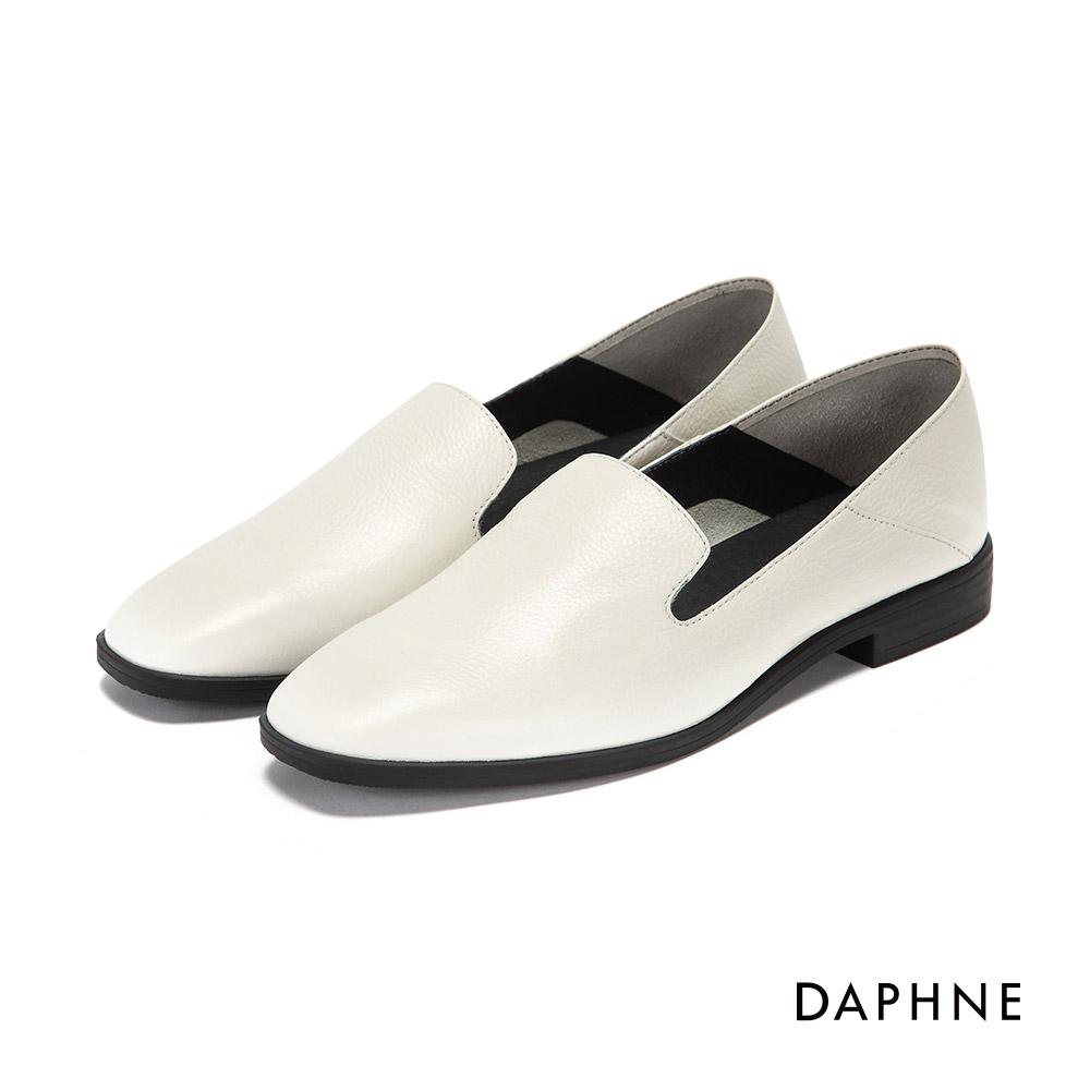 達芙妮DAPHNE 休閒鞋-全真皮紳士樂福鞋-米白