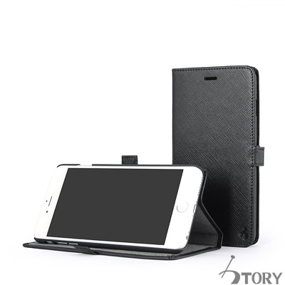 STORY皮套王 iphone 6 plus / 6s plus 摺邊折疊式十字紋黑現貨
