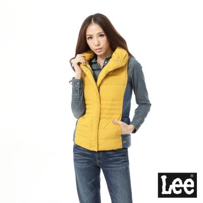 Lee 羽絨背心外套 配色高領 -女款 芥末黃
