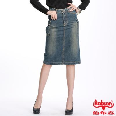 【BOBSON】女款刷白貼口袋中長牛仔裙(藍53)