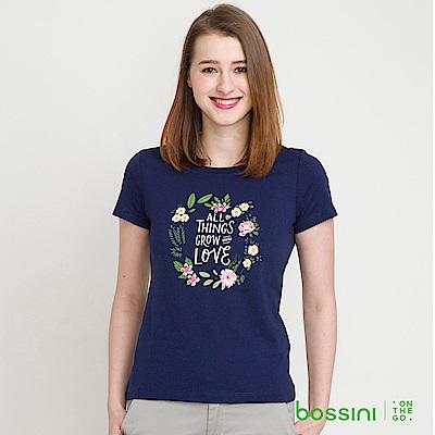 bossini女裝-印花短袖T恤33海藍