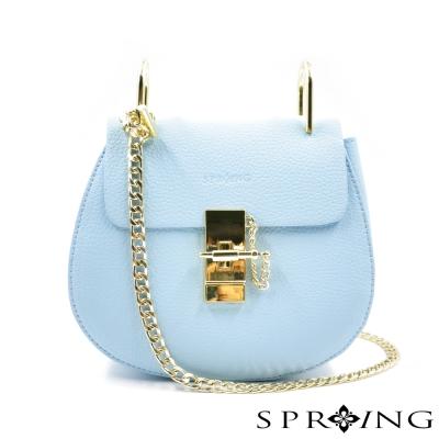 SPRING-法式香榭荔枝紋真皮鍊包-粉藍