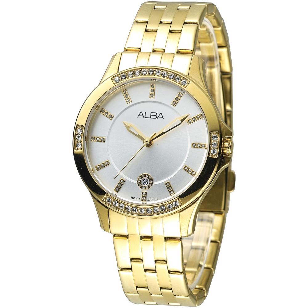 ALBA 晴空浪漫晶鑽女錶-全IP金(AG8400X1)/36mm 保固二年