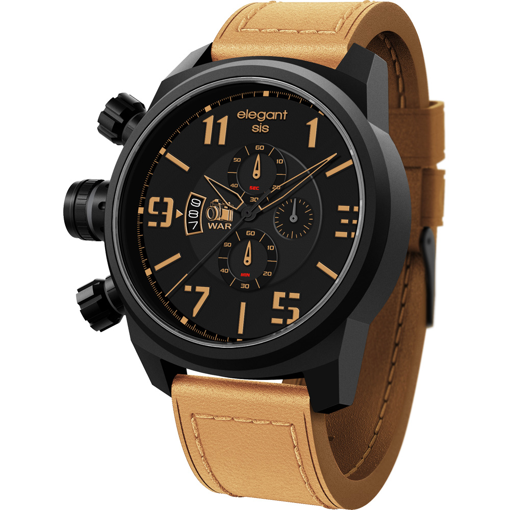 elegantsis Army 戰地記者三眼計時腕錶-黑x卡其/48mm