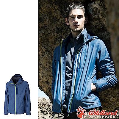 Wildland 荒野 0A52910-77中藍色 男輕量網布刷毛裡防風外套