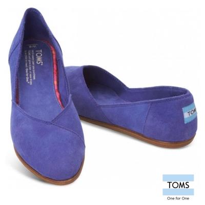 TOMS 氣質麂皮平底尖頭鞋-女款(紫)
