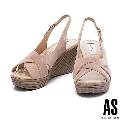涼鞋 AS 編織風情羊麂繫帶草編楔型高跟涼鞋-杏