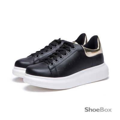 達芙妮DAPHNE-ShoeBox系列-平底鞋-金屬拼色綁帶休閒鞋-黑8H