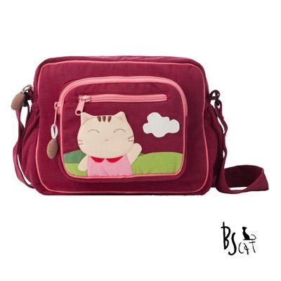 ABS貝斯貓 可愛貓咪拼布 肩背包 斜揹包 (暗紅) 88-203