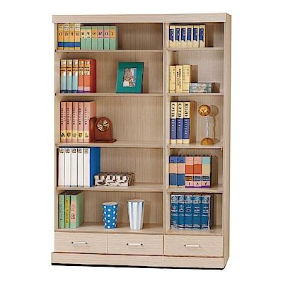 品家居 多明尼4尺橡木紋三抽書櫃-120x33x180cm免組
