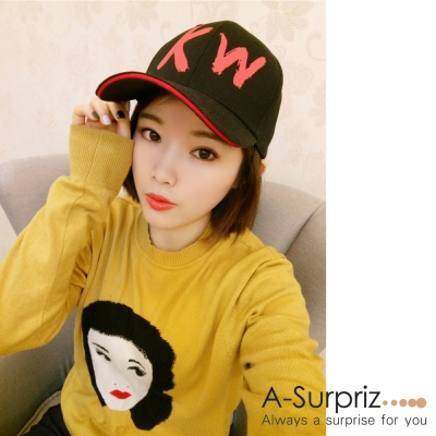 A-Surpriz  KW字母棒球帽(黑)
