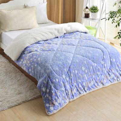 羽織美 藍色氣泡 3D立體雕花舖棉羊羔絨毯被
