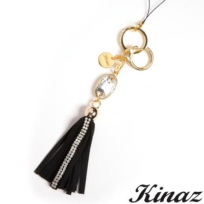 KINAZ-Sweety糖果小物~搶眼美鑽麂皮流蘇吊飾-華麗黑