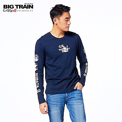 BIG TRAIN 柴田勝家圓領長袖T-男-深藍