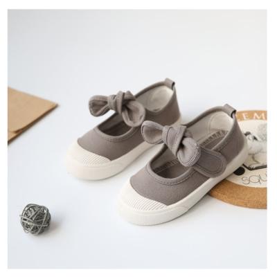 甜美蝴蝶結款四季兒童帆布鞋-灰
