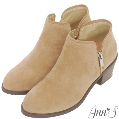 Ann'S個性出眾-雙側銀拉鍊粗跟短靴-杏