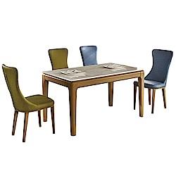 AT HOME-簡約設計大理石面鐵藝餐桌椅組-一桌四椅(130*78*75cm)