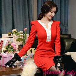 時尚插肩配色V領針織洋裝 (共二色)-Mentor Lady