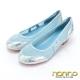 nonno-金屬風格-M字網布透氣爆裂銀紋粗跟鞋
