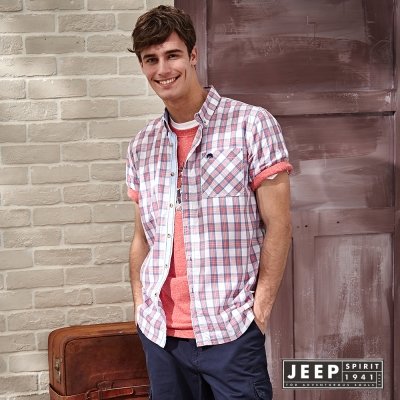 JEEP 經典美式撞色短袖格紋襯衫(紅色)