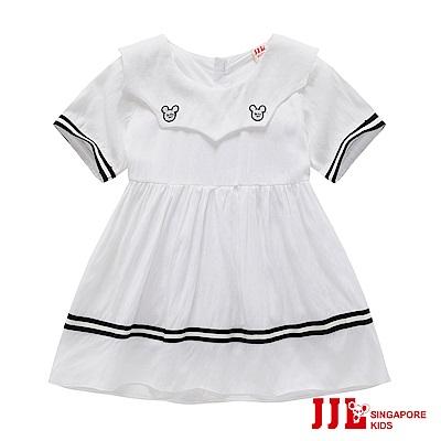 JJLKIDS 俏皮學院風翻領棉質洋裝(白色)
