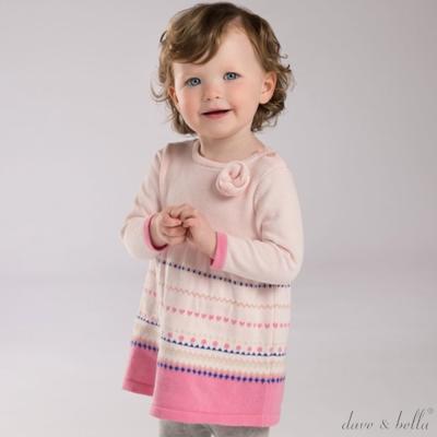 Dave Bella 粉紅幾何花紋長袖針織洋裝