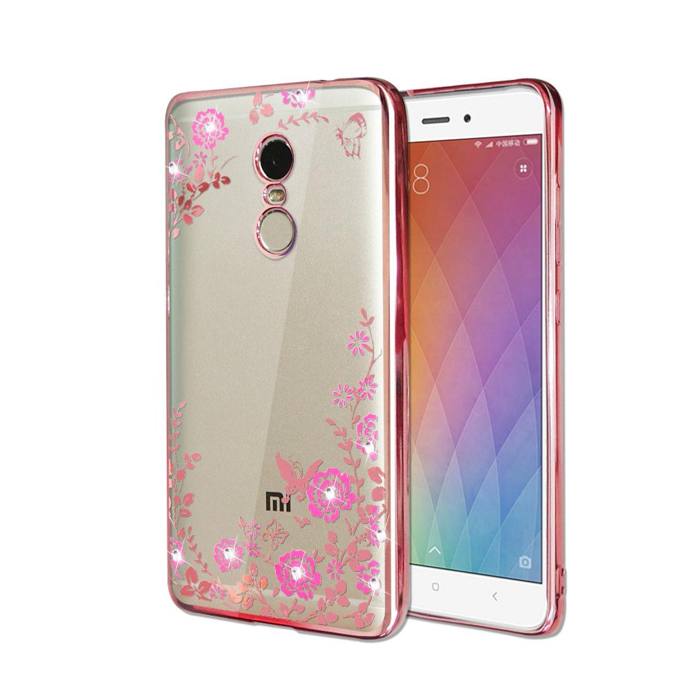 VXTRA Xiaomi 紅米Note 4 電鍍水鑽軟式手機殼(花舞蝶戀)