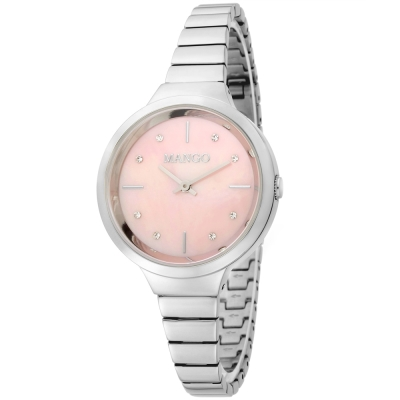 MANGO 優雅時光晶鑽時尚腕錶-粉紅色-26mm
