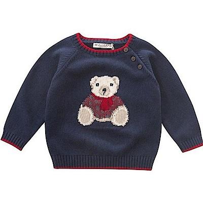 Dave Bella 海軍藍小熊保暖針織毛衣