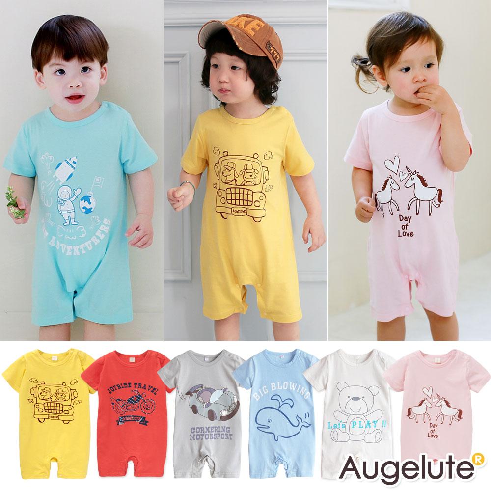 baby童衣 短袖連身衣肩釦卡通印花41151