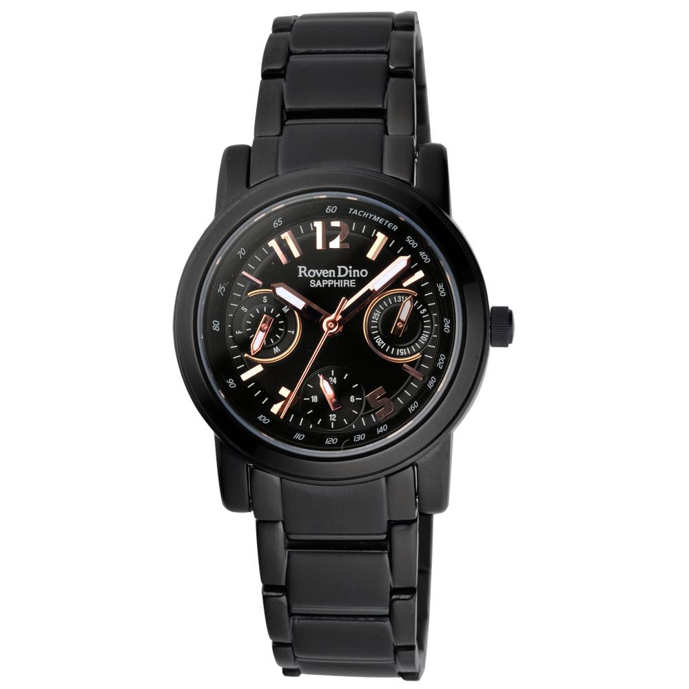 Roven Dino閃亮之夜三眼腕錶-黑30mm
