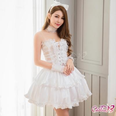 角色扮演 純白蕾絲蘿莉風女僕角色扮演服七件組(白F) Caelia
