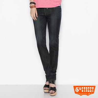 華麗姿態-取線直筒牛仔褲-女款-酵洗藍