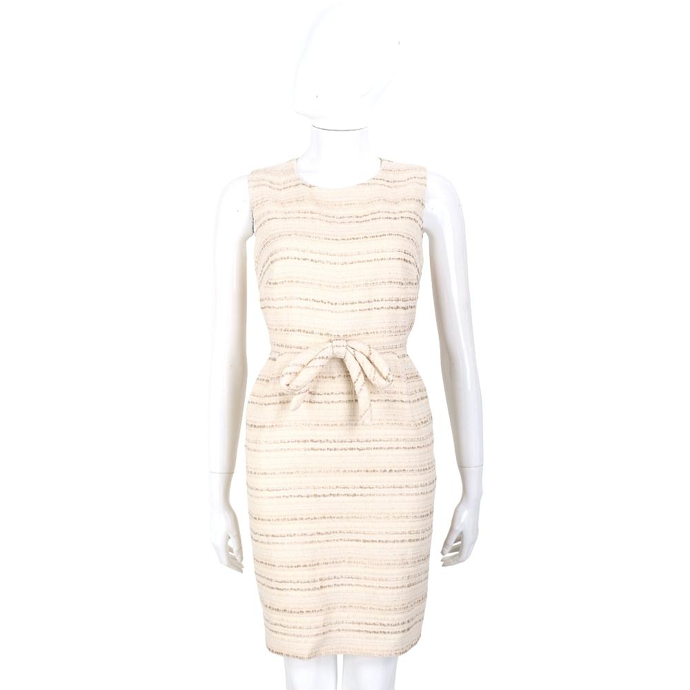 EDWARD ACHOUR PARIS 米色條紋蝴蝶結飾無袖洋裝