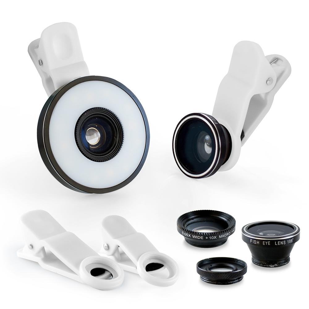 6合1 微距/廣角/魚眼 通用型補光燈夾式特效鏡頭 product image 1