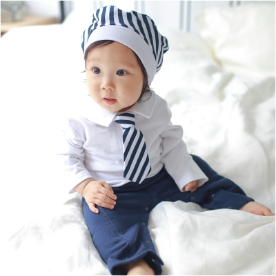 baby童衣 條紋領帶長袖連身衣 附帽子 70110