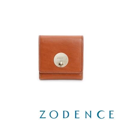 ZODENCE-義大利植鞣革系列轉鎖短夾-駝