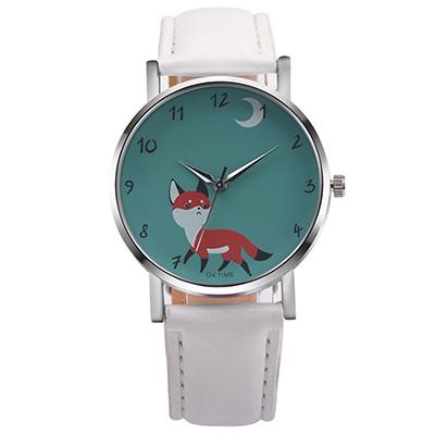 Watch-123 狸貓太子-簡約時尚可愛俏皮小狐狸手錶-白色/37mm