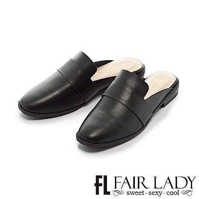 Fair Lady 率性樂福造型懶人穆勒鞋 黑