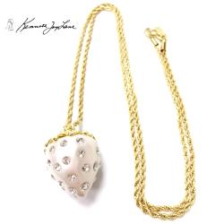 Kenneth Jay Lane 好萊塢巨星最愛 珍珠白色草莓項鍊 鑲K金水晶 附原廠盒