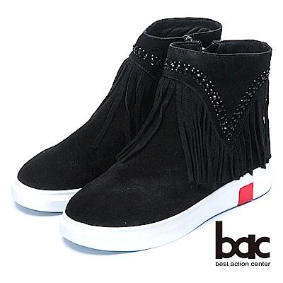 bac時尚品味流蘇水鑽真皮平底靴-黑