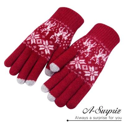 A-Surpriz-雪花麋鹿觸控手套-紅