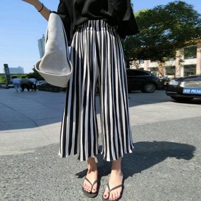 La Belleza百摺寬條紋高腰闊腿褲寬管九分褲