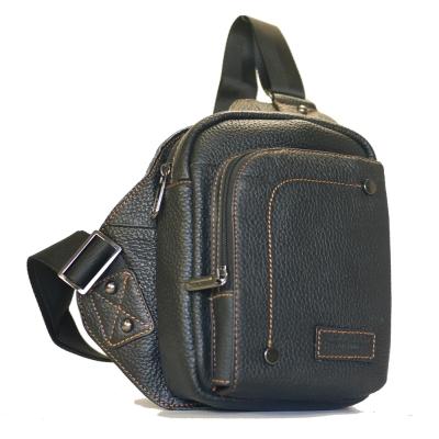 Miyo進口牛皮方形單肩胸背包(黑色)