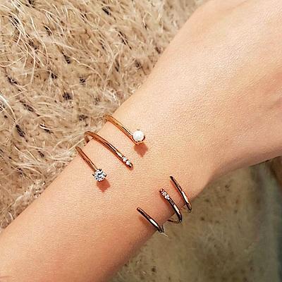 微醺禮物 正韓 頂級鋯石 人造珍珠 銅鍍16K金 單鑽 開口式手環3入
